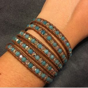 Chan Luu turquoise and crystal wrap bracelet